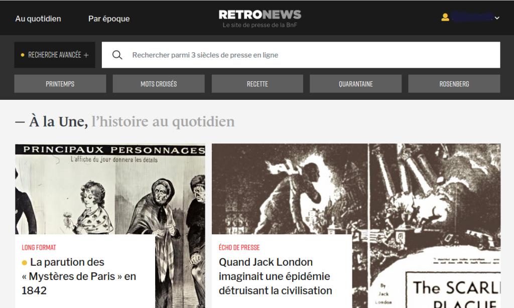 Visuel du site Retronews